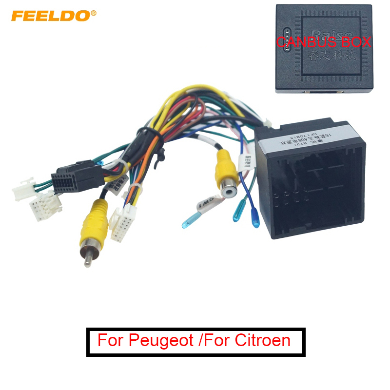 FEELDO 1PC 16-pin Car Android Stereo Wiring Harness For Peugeot 308(2016)/4008(2017)/508L(2019)/Citroen C3 XR(2019)/C5 AIRCROSS