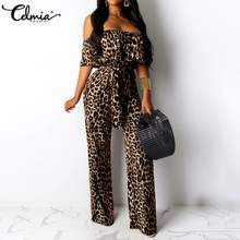 Sexy Luipaard Print Bodycon Jumpsuits Celmia Vrouwen Off Shoulder Rompertjes Casual Korte Mouw Riem Elegante Partij Plus Size Overalls(China)