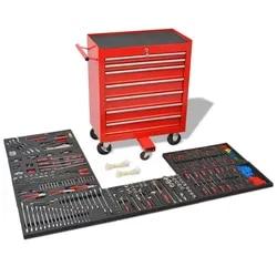 Chariot à outils d'atelier avec 1125 outils en acier rouge | Chariot à outils mobile à 7 tiroirs et verrouillage intégré, boîte à outils multifonctionnelle