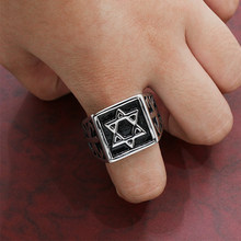 Star of David Pentagram Men Rings Seal Square Male Ring Vintage Jewelry Stainless Steel Punk Rock Hip Hop Biker Band DCR074(China)
