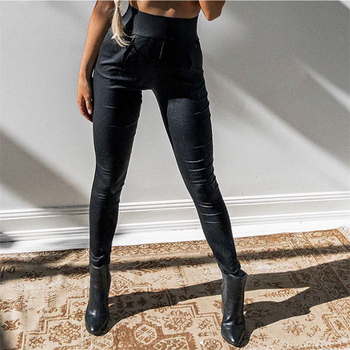 2020 Women Matte PU Faux Leather Pants Winter Female High Waist Elastic PU Leather Stretch Slim Fit Bodycon Sexy Pencil Trousers