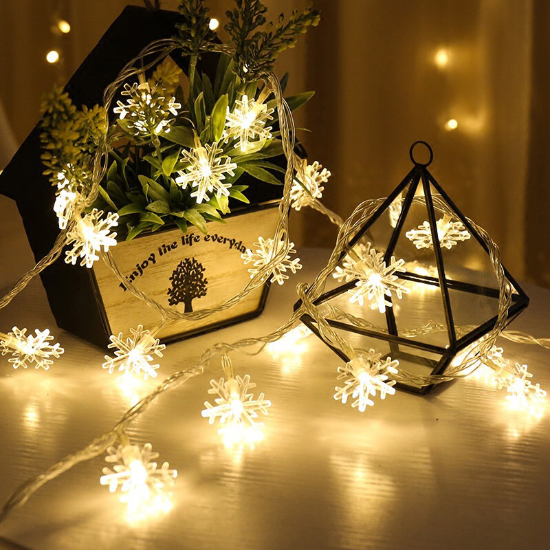 LED Fairy String Light Christmas Lights Garland Snow Flakes Decoration Outdoor Indoor Holiday Xmas Valentine's Party