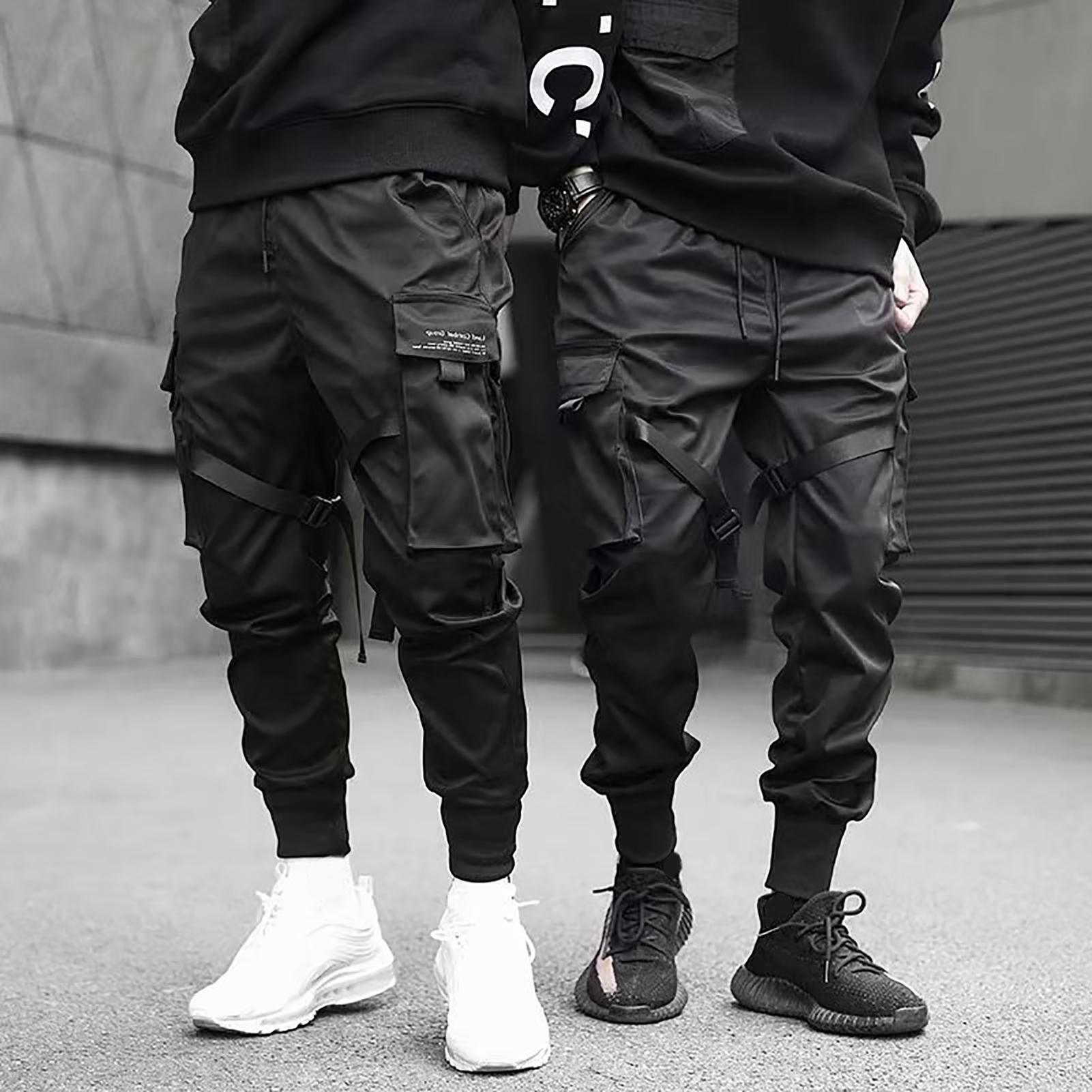 Men Sweatshirts Jogging Pants Men Casual Pants Men Fashion Drawstring Multi Pockets Straps Ankle Tied Cargo Pants Long Trousers