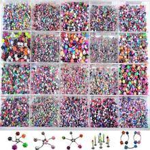 Piercing Multicolor para el cuerpo de 110 uds, joyería variada de labios, lengua y CEJA para ombligo, anillo de barra, Sexy, Vintage, Piercing para el cuerpo para mujeres y hombres
