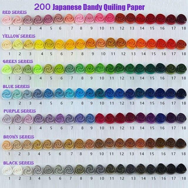 Papier à Quilling japonais, Dandy, 200 couleurs, 200 couleurs, 1.5 et 3 et 5mm de Long 390mm, papier fait à la main, bricolage