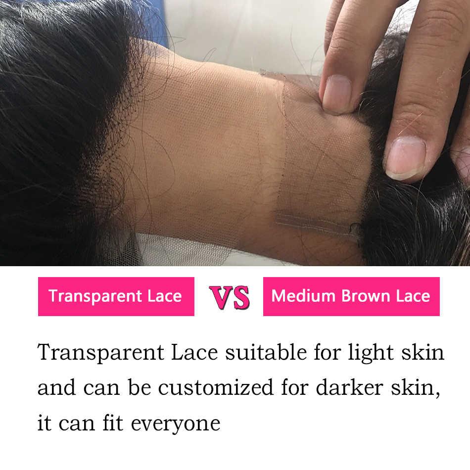 HD przezroczyste koronkowe peruki Top Glueless ciało koronkowa fala Frontal ludzkie włosy peruki wstępnie oskubane z dzieckiem włosy brazylijski peruka z włosów typu remy