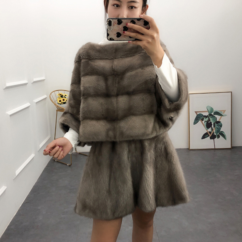 Women real mink fur pullover short paragraph bat sleeves jacket fashion coat can be worn with skirt female