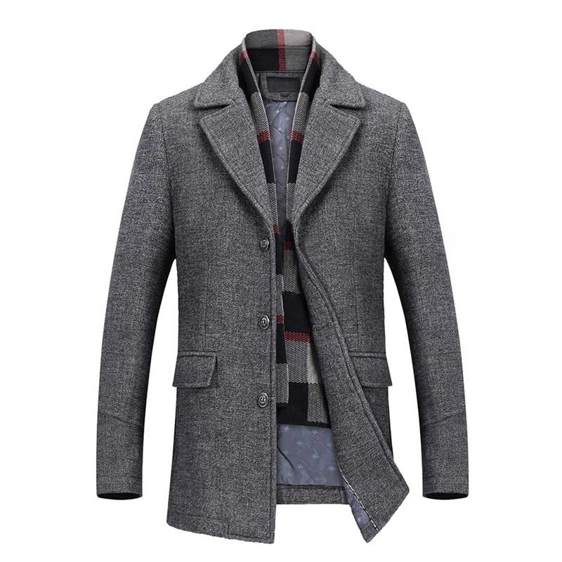 YOUTHUP Winter Men's Long Wool Jacket Single Breasted Slim Fashion Solid Coats Overcoats Topcoat Mens Fitness Coat Streetwear
