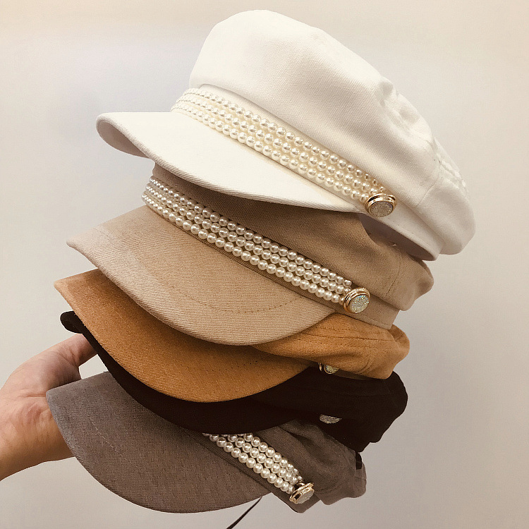 01908-xu19 Pearl Chain  Beautiful Lady Octagonal Hat  Women Leisure Visors Cap Wholesale
