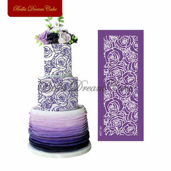 Rose Flower Mesh Stencils Frabric Cake Stencil Fondant Sugarcraft Mold Wedding Cake Side Template Cake Decorating Tool Bakeware - DISCOUNT ITEM  40% OFF All Category