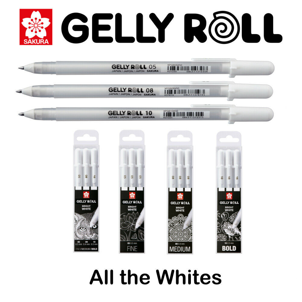 Free Shipping Japan Sakura XPGB Gelly Roll Gel Ink Pen White 05/08/10 Sketch Highlight Marker Pen Drawing Art Supplies