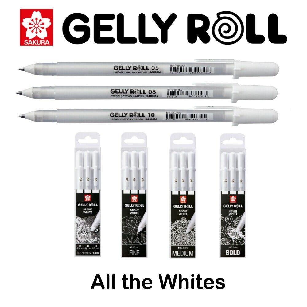 Free Shipping Japan Sakura XPGB Gelly Roll Gel Ink Pen White 05/08/10 Sketch Highlight Marker Pen Drawing Art Supplies