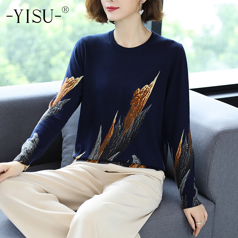 YISU 2020 Autumn Winter Casual Knitted Sweater Women Pullover Sweaters Loose Jumper O neck Long sleeve Printed sweater Women
