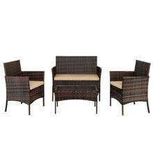YF-Outdoor 2pcs Arm Chairs 1pc Love Seat & Tempered Glass Coffee Table Rattan Sofa Set Brown Gradient