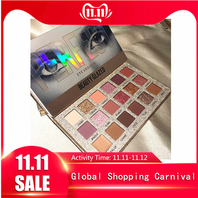 Beauty Geglazuurd 18 Kleur Glitter Matte Eyeshadow Palette Make-Up Glitter Pigment Smoky Eyeshadow Palette Waterdicht Cosmetica TSLM2