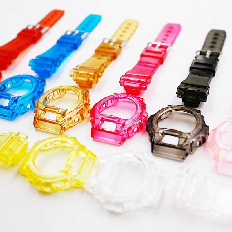 For Casio <font><b>G</b></font>-<font><b>SHOCK</b></font> DW-6900 6600 6930 3230 <font><b>Watch</b></font> Accessories <font><b>Strap</b></font>+Case Replacement High Quality Clear Silicone Sport Watchband image