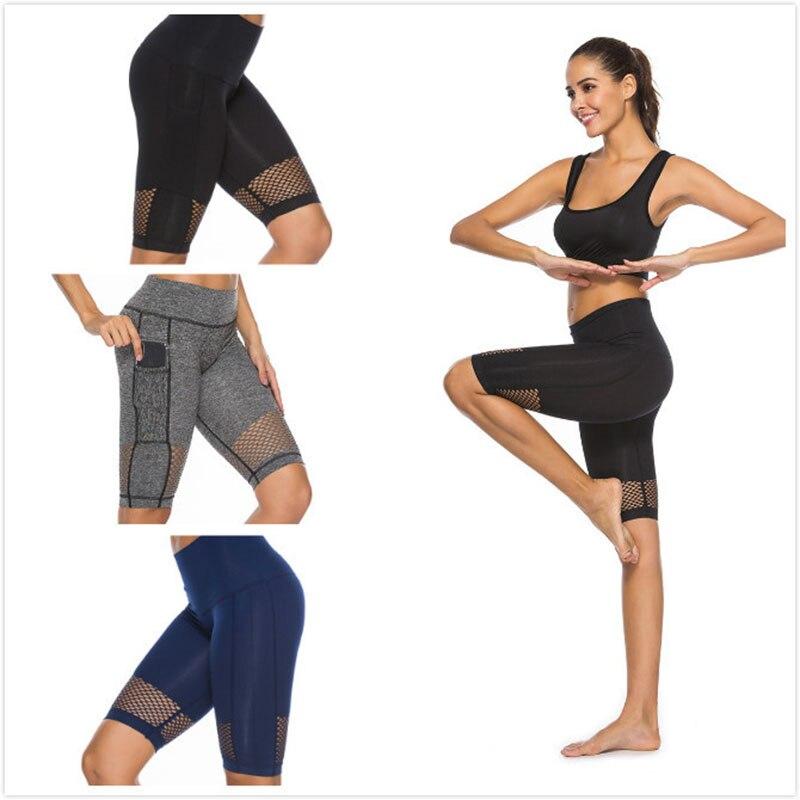Solid Mesh Gym Leggings Women Seamless Breathable Sport Shorts Fitness Workout Yoga Shorts Short Legging Ropa Deporte Mujer