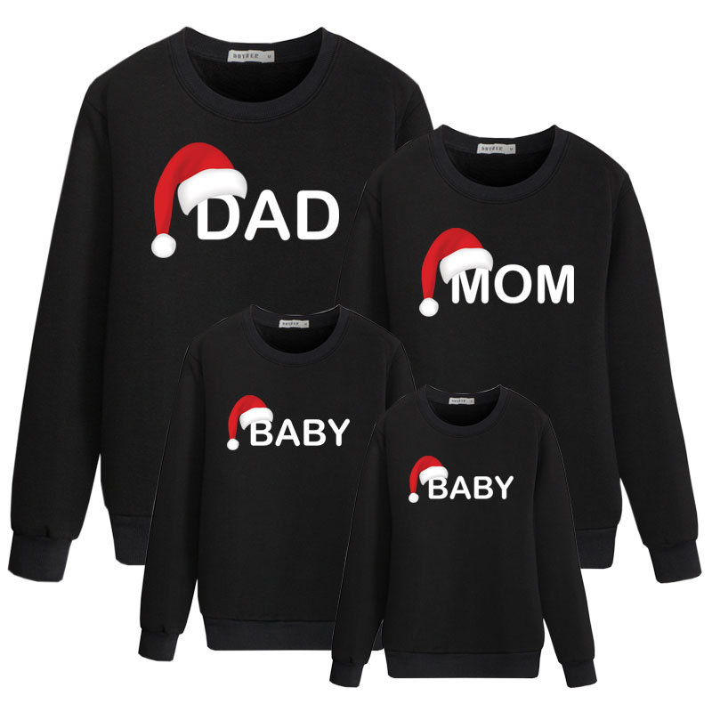 Dad Mom Baby Cotton Family Matching Outfis For Father Mother Daughter Son Santa Hat Cute Print Children Set Kids Winter Clothes