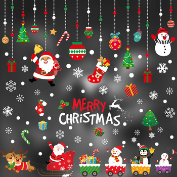 2020 Merry Christmas Window stickers Christmas decorations for home wall Glass Stickers New Year Home Decals Decor natal Noel 2020 merry christmas wall stickers window glass festival wall decals santa murals new year christmas decorations for home decor