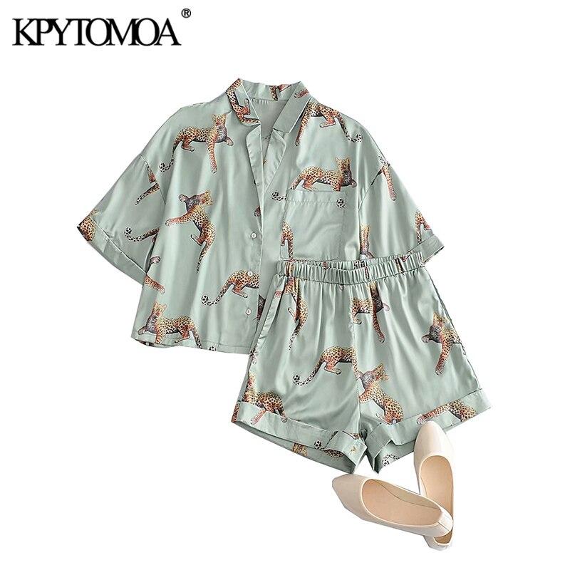 KPYTOMOA женский коллекция 2021 года, Модный комплект из двух предметов, блузка свободного кроя с принтом животных, шорты с эластичным поясом и ка...