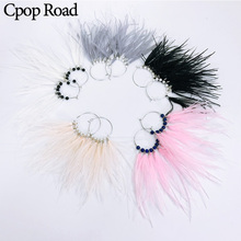 Cpop Trendy Boho Nature Feather Earrings Stone Pearl Pendant Gold Circle Statement Fashion Jewelry Accessories
