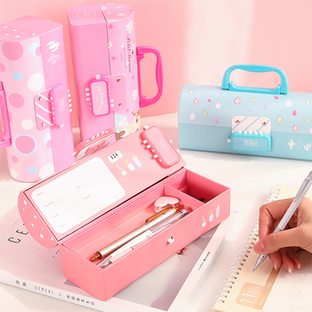 Creative Pencil Box Multifunctional with Code Lock Large Capacity Pencil Case for Childrens School Stationery Supplies