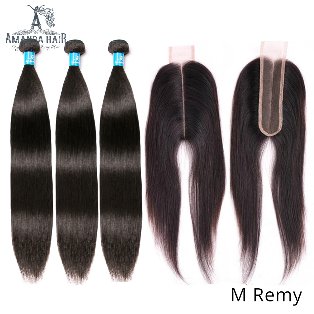 Amanda Kim K Closure With Bundles Brazilian Straight Hair Weave Middle Ratio 100% Remy Human Hair 3 Bundles With 2x6