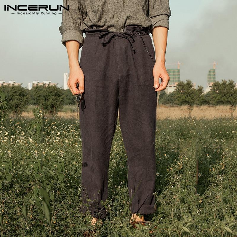 INCERUN Cotton Linen Men's Pants Joggers Vintage Lace Up Loose Streetwear Casual Pants Solid Color Retro Trousers Men 2020 S-5XL