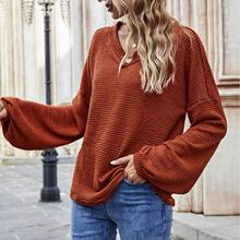 2020 Womens Pullover Thermal Warm Waffle Knitted Tops Drop Shoulder Long Billowed Sleeves Loose T Shirts/Female Tshirts