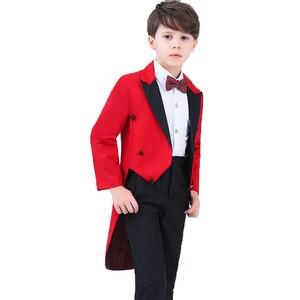 Свадебные костюмы с цветочным принтом для мальчиков на день рождения 5 предметов, пиджак + рубашка + штаны + галстук, торжественное платье для...