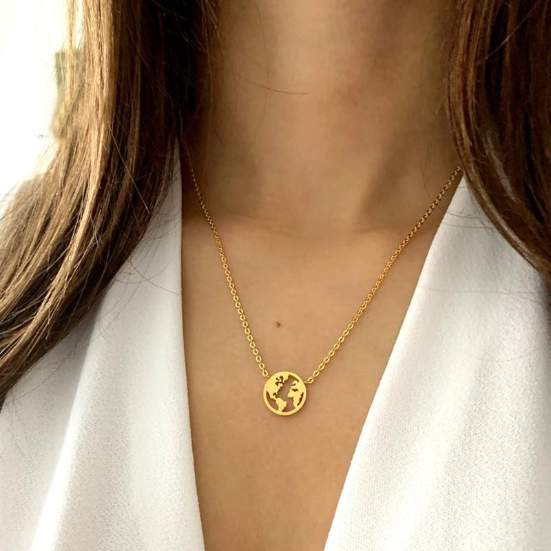 Женское Ожерелье из нержавеющей стали, колье из розового золота с вырезами в виде карты мира, мировая бижутерия для путешествий