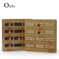 Oirlv Solid wood Cream white&Dark gray 12 Seats Ring Display Stand with Microfiber Internal for Exhibition Jewellry Rings Holder