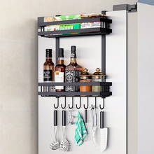Refrigerator Side Metal Spice Shelf 2/3 Layer With Hooks Multifunctional Space-Saving Accessories For Home Kitchen