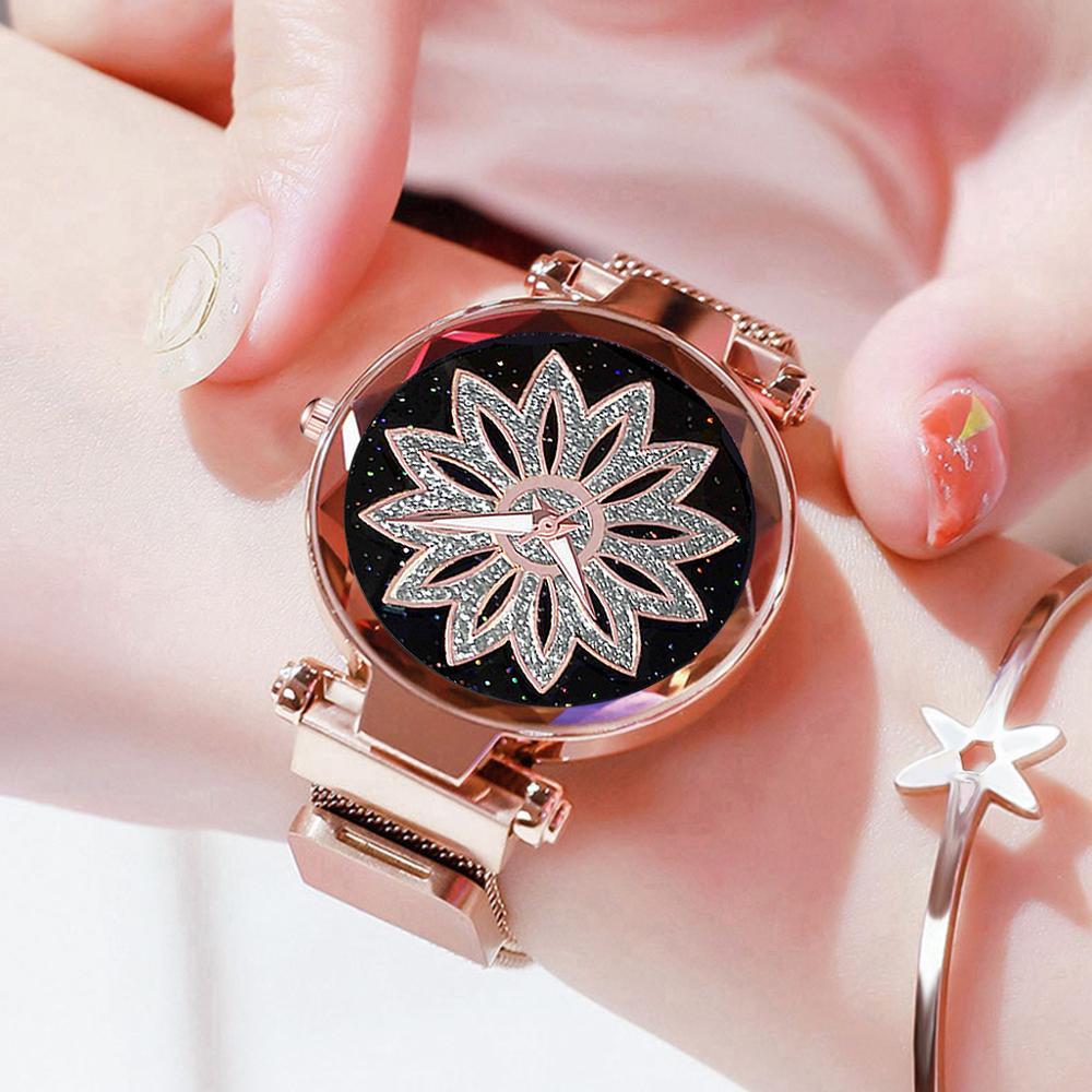REBIRTH Women Watch Rotating Flowers Women's Watches TOP Luxury Stainless Steel Wrist Watch Relogio Feminino Reloj Mujer Female