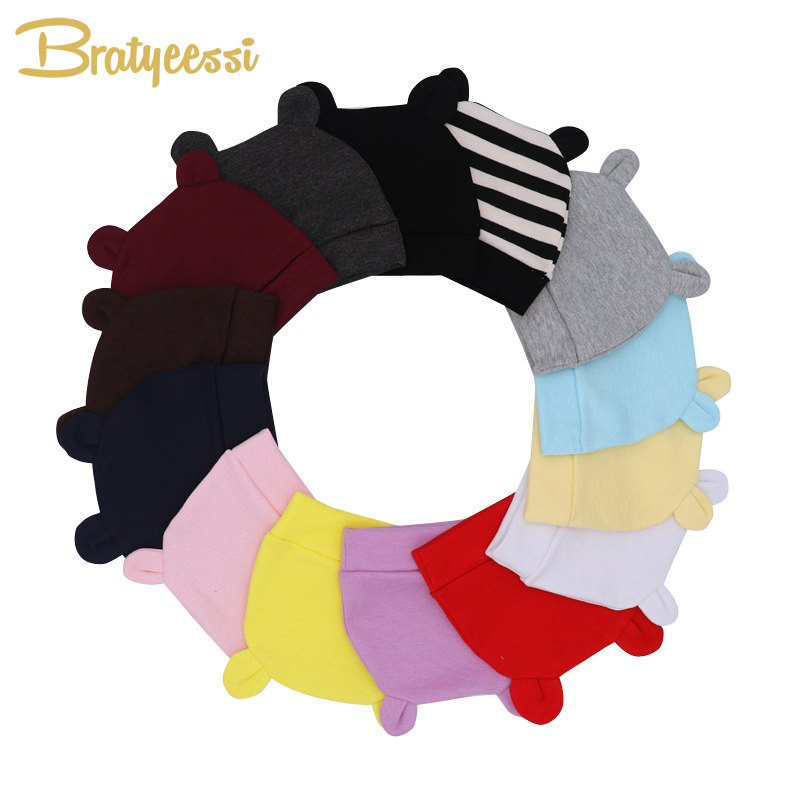 Newborn Baby Hat Solid Color Baby Beanie for Boys Girls Cotton Cartoon Infant Toddler Hat Baby Accessories for New Born to 3M