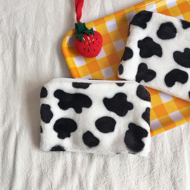 South Korea INS Simple Mini Plush Cow Purse Coin Cosmetic Bag Cute GIRL'S Heart Carrying Wallet Women's