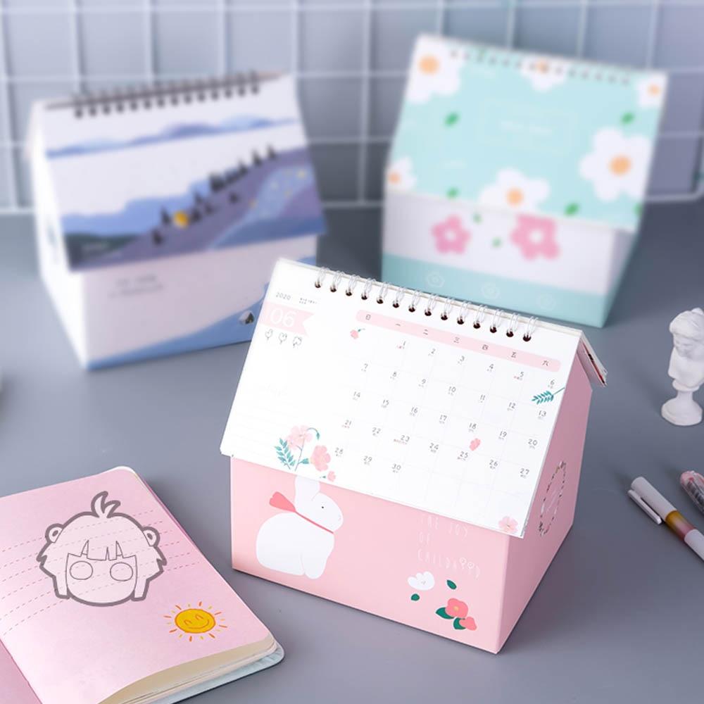 2020 Creative Folding House Desk Calendar Van Gogh Starry Night Cartoon Animal Calendars Desktop Storage Box Home Decorations