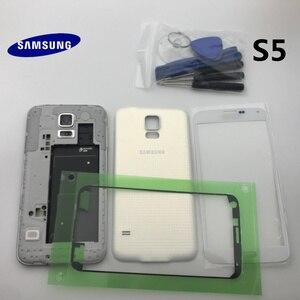Image 2 - Oryginalna pełna obudowa tylna pokrywa przednia do szkła ekranu i soczewek + środkowa ramka do części Samsung Galaxy S5 G900 G900F I9600