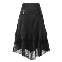Women Black Gothic Skirt Retro Vintage Victorian Steampunk Skirts Lace Patchwork Ruched Skirt Costume High Low Dancing Outfits