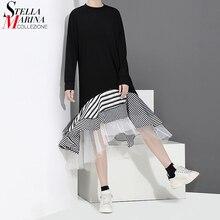 Новинка, женское осеннее черное платье-труба из кусков, с оборками, в полоску, с длинным рукавом, стильное, милое, Повседневное платье средней длины, халат 2048