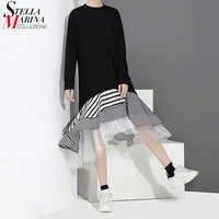 New 2019 Women Autumn Black Trumpet Dress Patchwork Ruffle Striped Hem Long Sleeve Stylish Lady Cute Midi Casual Dress Robe 2048