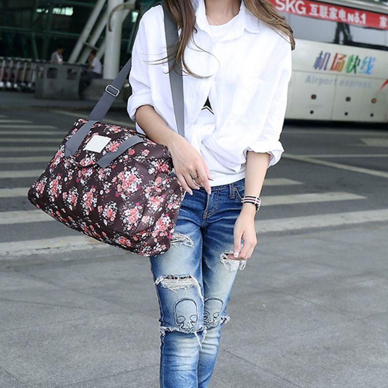 Women Travel Handbags Portable Luggage Floral Print Bag Waterproof Duffle Bags