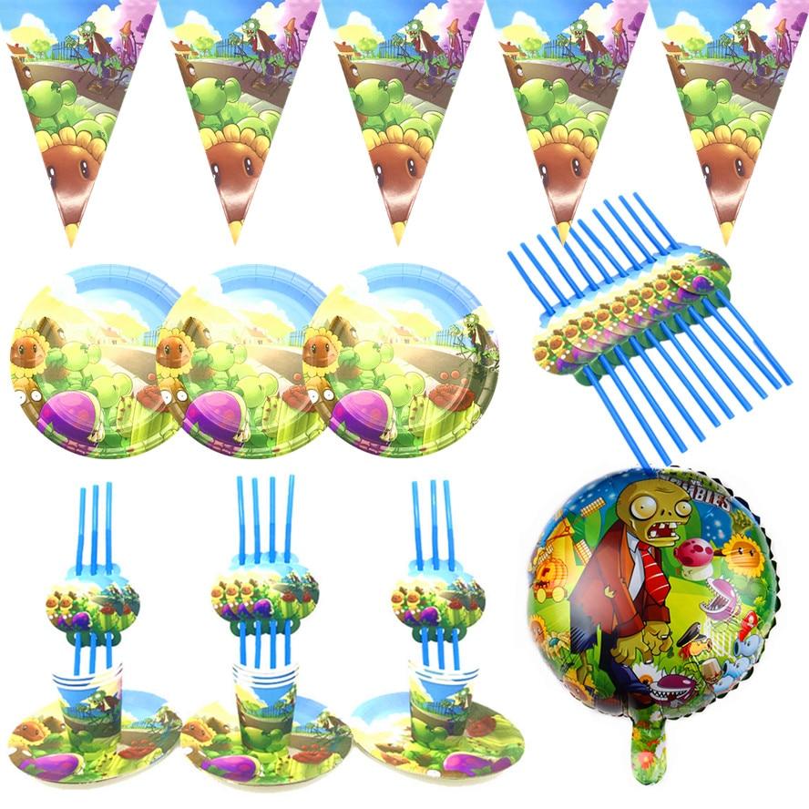 Игра с изображением героев «Plants vs Zombies Одноразовая посуда для вечеринок комплекты для дня рождения из игры «декор для вечеринок Baby Shower мульт...