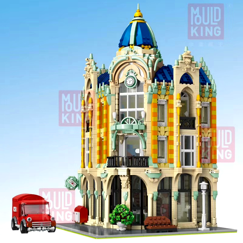 DHL MouldKing 16010 4030Pcs Street View Cafe Conrner With Led Light Model Building Blocks Bricks Kids Christmas Toys 15001 15002