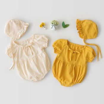 2Pcs Baby Girls Romper Newborn Girl clothes  baby girl ruffle Solid with Hat