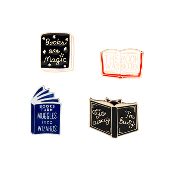 Fashion Lapel Pin Books Shape Design The Book Was Better brooch Read Collection Badges Brooches Jewelry Literature lover Gifts image