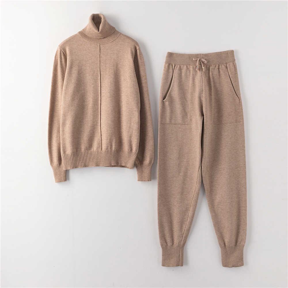 Dres dla kobiet 2019 nowa bluza i spodnie z golfem dwuczęściowy zestaw dorywczo spodnie z dzianiny + Jumper góry od garnituru 2 częściowy zestaw