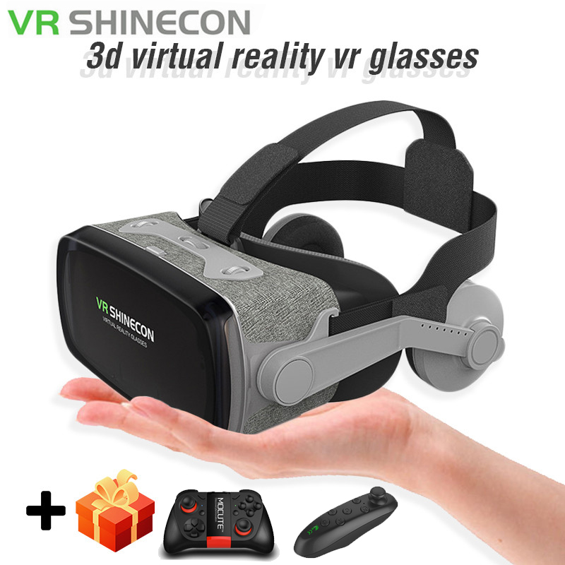 Neue Shinecon 9,0 VR Virtual Reality Brille mit Gamepad 3D Brille Headset Helm Box Für 4,7-6,0 Inch <font><b>IPhone</b></font> android Controller image