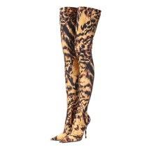 Botas altas hasta el muslo con estampado de leopardo para mujer, zapatos de tacón alto de tela elástica, calcetín elástico por encima de la rodilla, WB1499