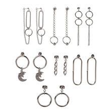 7 Pairs KPOP Korean Jewelry Silver Long Chain Titanium Steel Drop Earrings Kit